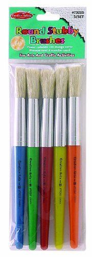 Charles Leonard Inc., Brushes, Stubby Round, Red,Yellow, Blue, Green, Orange, 5/Set (73205) by Charles Leonard. $6.99. Round stubby brushes feature brightly colored 7 1/2 Inches plastic handles. Natural hog bristles held in seamless aluminium ferrule. Color coded to match Creative Arts spill proof paint cups.