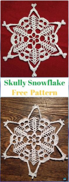 Most up-to-date Absolutely Free Crochet coasters skull Thoughts Crochet Skully Snowflake Free Pattern – Crochet Skull Ideas Free Patterns Crochet Skull Patterns, Halloween Crochet Patterns, Crochet Snowflake Pattern, Crochet Snowflakes, Doily Patterns, Loom Patterns, Dress Patterns, Crochet Fox, Thread Crochet