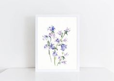 Watercolor Bluebells Painting, Original Floral Painting, Original Art, A5, Watercolor Flowers, Art for Home, Mothers Day, Gift, Home Decor  This is an ORIGINAL WATERCOLOR PAINTING.  Infuse any room with warmth and style with this beautiful watercolor painting of bluebells. Or surprise your mother this Mothers Day with one of a kind, original artwork! The painting will also make a wonderful housewarming, wedding, anniversary or any occasion present. Painted with professional watercolor paints…