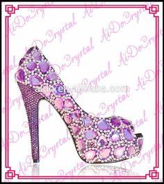 Aidocrystal handmade big Diamond peep toe evening party high heel shoes,sexy purple rhinestone wedding shoes matchings clutch