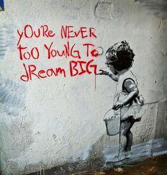 Banksy Dream Big, Graffiti Street Art – Print on Metal 3d Street Art, Street Art Graffiti, Street Artists, Banksy Art, Bansky, Mr. Brainwash, Branding, Modern Artwork, Urban Art