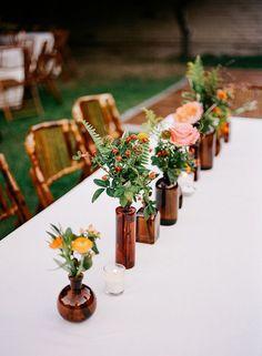 33 Best Floral Wedding Centerpieces Ever! - Amaze Paperie 33 Best Floral Wedding Centerpieces Ever! Wedding Centerpieces Mason Jars, Unique Centerpieces, Beer Bottle Centerpieces, Simple Wedding Decorations, Simple Weddings, Wedding Simple, Wedding Rustic, Wedding Ideas, Trendy Wedding