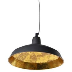 Black and Gold Hanging Pendant Light (4,155 PHP) ❤ liked on Polyvore featuring home, lighting, ceiling lights, gold light, round light, round pendant light, colored lights and black lights