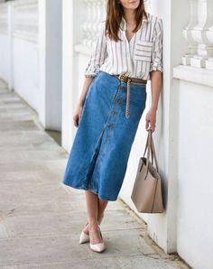 8 Ways to Wear a Denim Skirt Like a Grown-up via @PureWow
