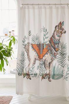 Magical Thinking Fancy Llama Shower Curtain