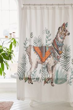 Magical Thinking Fancy Llama Shower Curtain