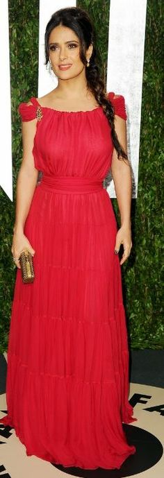Salma Hayek at The Oscars Vanity Fair After Party 2012: Dress and shoes – Yves Saint Laurent