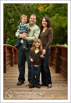 Green, brown and denim for family photos.