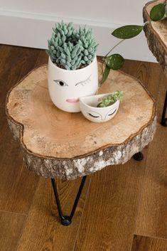 Tree slice hairpin tables Romantic Boho chic bedroom transformation