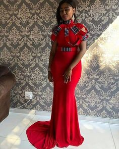 Image may contain: 1 person, standing Venda Traditional Attire, Traditional Wedding Attire, African Traditional Wedding, Traditional Dresses, African Attire, African Dress, African Clothes, African Wear, African Style