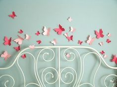 Butterfly Flying Wall Stickers In Two Shades Of Pink - Set Of 30 - Free Shipping…