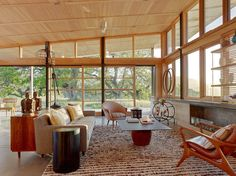 modern room big windows