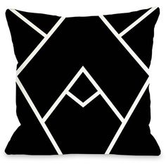 Mountain Peaks Pillow ($45) ❤ liked on Polyvore featuring home, home decor, throw pillows, pillows, decor, deco, black accent pillows, black and white home decor, white toss pillows and black and white accent pillows