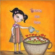 Share the Love    Love works in miracles every day: such as weakening the strong, and stretching the weak; making fools of the wise, and wise men of fools; favouring the passions, destroying reason, and in a word, turning everything topsy-turvy. *    Original mixed media painting by www.mexicancolors.etsy.com