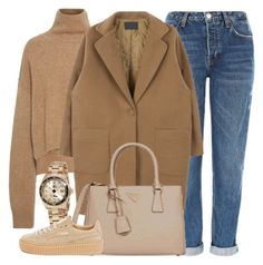 """""""Coffee To Go"""" by monmondefou ❤ liked on Polyvore featuring Topshop, Prada, Invicta, Puma and brown"""