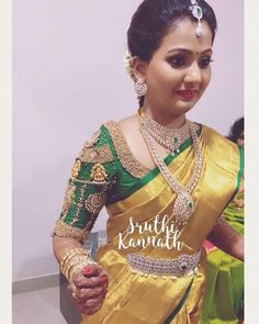 Yellow and green Pattu Saree Blouse Designs, Bridal Blouse Designs, Marriage Dress, Stylish Blouse Design, South Indian Bride, Indian Bridal, Saree Dress, Saree Styles, Fancy