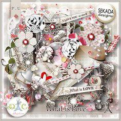 What Is Love - Full Kit by Sekada Designs Free Digital Scrapbooking, Digital Scrapbook Paper, Digital Papers, Love Is When, What Is Love, Instagram Frame Template, Cute Frames, Cloth Flowers, Scrapbook Embellishments