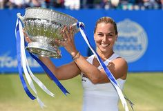 """6th WTA title! - Dominika Cibulkova crowned 2016 Aegon International champion - from WTA - 5'3"""" Domi was full of energy, as usual, Karolina was not at her best today - JR"""
