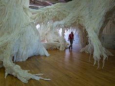 """Wade Kavanaugh and Stephen B. Nguyen, White Stag, paper and wood, part of MASS MoCA's 2010 exhibition, """"Material World: Sculpture to Environment."""""""