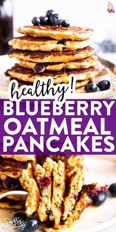 Serve a healthy breakfast your kids will love with these Blueberry Oatmeal Pancakes! They are easy to make with juts a few basic ingredients, and you can freeze them for easy make ahead breakfasts, too. Brunch Recipes, Breakfast Recipes, Vegan Recipes, Pancake Recipes, Breakfast Ideas, Easy Recipes, Quick Meals For Kids, Easy Family Meals, Family Recipes