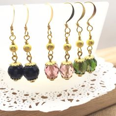 *EARRING SALE *-Gold Luster Beaded Earrings-Black Agate-Bead Glass Earrings-Bridesmaids Gift-Czech Glass Bead-Gold Luster-audriasprettypieces