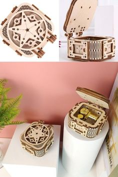 Perfect gift for kids. Assembly time:about 30minsRecommend age: 14+ #gift #present #musicbox #cute Wooden Model Kits, Castle In The Sky, Wooden Puzzles, Gifts For Kids, Bracelet Watch, Age, Stars, Music, Accessories