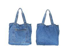 Medium Denim Tote Bag // Blue Jean Book Bag by IntertwinedVintage