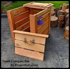 A new spin on our signature compost bin; a bit smaller for the novice composter. listing at https://www.etsy.com/listing/191767913/small-reclaimed-cedar-compost-bin