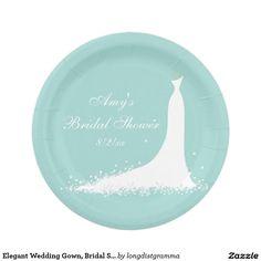 Elegant Wedding Gown, Bridal Shower Paper Plates