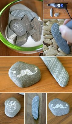DIY; stones, engrave, decoration, moustache, doodle, owl