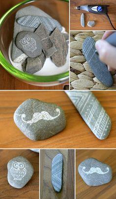 DIY; stones, engrave, decoration, moustache, doodle, owl, Steine, gravieren, Deko