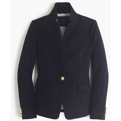 J.Crew Collection Regent Blazer (20334095 BYR) ❤ liked on Polyvore featuring outerwear, jackets, blazers, j.crew, button jacket, cashmere jacket, fitted blazer and lined jacket