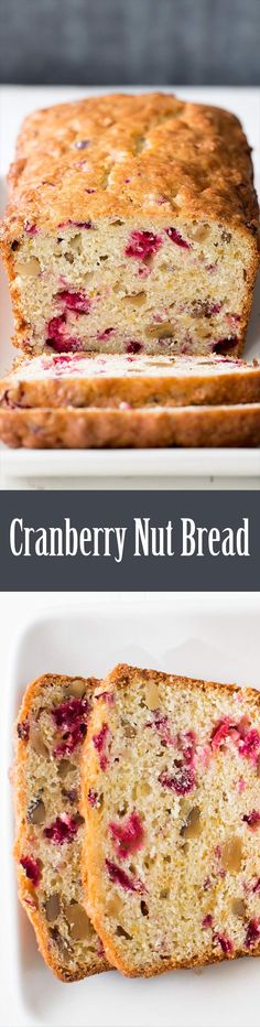 Delicious cranberry nut bread! With chopped cranberries, walnuts, and hints of orange. Perfect for the holidays. On SimplyRecipes.com