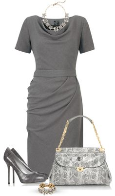 "This is something I would wear when working as a CPA, one of my many personalities. ""Gray dress"" by marincounty on Polyvore"