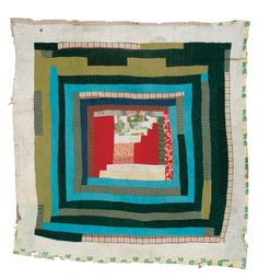 """Lutisha Pettway - """"Housetop"""" with center medallion - Master Image Antique Quilts, Vintage Quilts, Quilting Projects, Quilting Designs, Gees Bend Quilts, African Quilts, Japanese Quilts, Medallion Quilt, Colorful Quilts"""