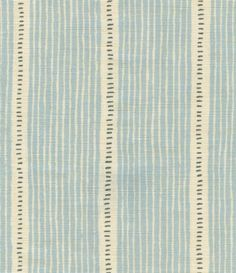 Stripe and Dash Slate blue with wider charcoal dash printed on off white linen union
