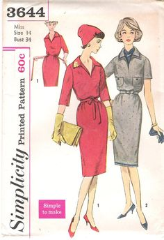 Vintage Mad Men Style 1960's Simple to Make Dress Sewing Pattern, Simplicity 3644