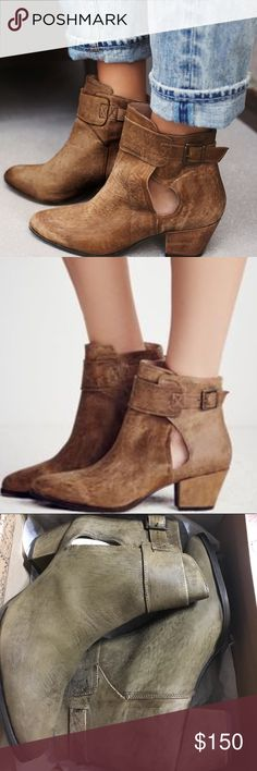Free People Booties NWT.  Suede ankle boots featuring subtle distressing for a vintage-inspired feel. Small cutouts at the ankle and adjustable strap for an easy on/off.  Size 37 or 41.  Measurements  Heel Height: 2.25 in Free People Shoes Ankle Boots & Booties