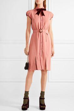 Antique-rose crepe, burgundy velvet Button fastenings through front 100% polyester; trim: 96% polyester, 4% elastane; lining: 94% polyester, 6% elastane Dry clean Imported
