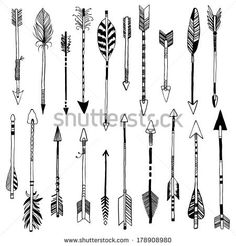 hand-drawn 20 arrows collection - stock vector