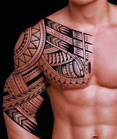 Bela tribal do peito ao braço - Fotos de Tatuagens