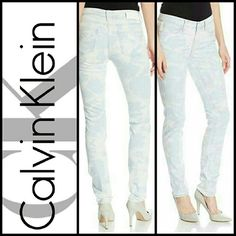 "Calvin Klein Moonlight Cosmic Skinny Jeans Get the skinny in CK Ultimate Skinny Jeans in Cosmic Moonlight rinse. Throw on your favorite pumps, a Tee & you're ready to go! The mid rise waistband sits below the waist, stretchy denim construction that ensures all-day comfort. Easily transitions from day to night.   Features:  *Size 32  *Slim fit through hips/thighs w/skinny legs.  *Zip fly button front closure  *5-pocket styling.  *CK logo leather patch on waistband.  *Inseam: 32"" *Material…"