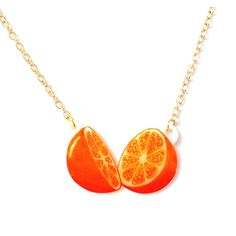 Orange Fruit Necklace - Pendant, Tropical, Juicy, Kitsch, Tangerine,... (29 CAD) ❤ liked on Polyvore featuring jewelry, necklaces, orange necklace, orange pendant, pendant necklace, orange jewelry and cable chain necklace