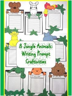 Jungle Animals: Writing Prompt Craftivities is a fun way to add a craft to a writing prompt. There is a craftivity for eight jungle animals.