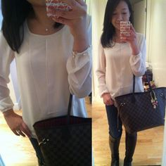 #forever21 blush layered top (wearing sz XS from their Love 21 line), #gap 1969 skinny jeans, #stuartweitzman mainline boots, #louisvuitton #neverfull, #laduree #hellokitty bag charm, Tiffany & Co. jewelry.