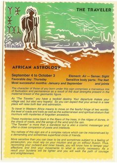Zodiac Unlimited African astrology postcard: The Traveler Astrology Zodiac, Zodiac Signs, Virgo, African Mythology, Numerology Chart, Numerology Calculation, Which One Are You, African History, Gods And Goddesses