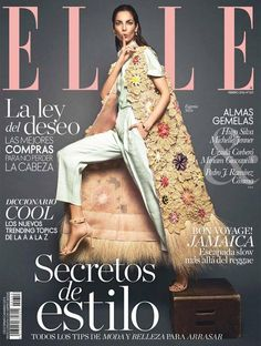 Eugenia Silva dressed in ‪#‎DelpozoSS16‬ for the February 2016 cover of ELLE España