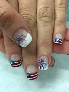 Patriotic-Memorial day/4th if July flag & firework gel nails. All done with non-toxic and odorless gel.