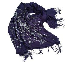 Constellation Print Scarf. Night Sky linen weave pashmina. Galaxy design, ice blue star print on nav