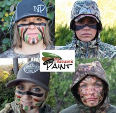 Nature's paint creator Sereena Thompson describes 4 popular ways to apply face paint for hunting, with illustrations and videos. Hunting Face Paint, Camouflage Face Paint, How To Paint Camo, Camo Paint, Bow Hunting Deer, Hunting Girls, Hunting Clothes, Hunting Stuff, Hunting Gear